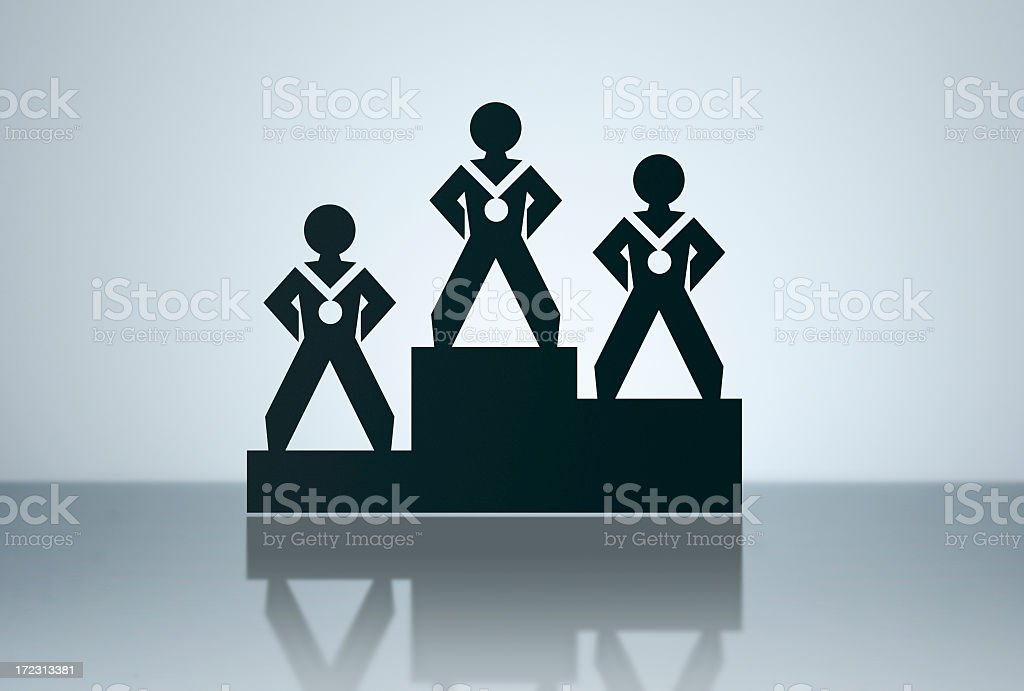 A illustration of three winners at a podium stock photo