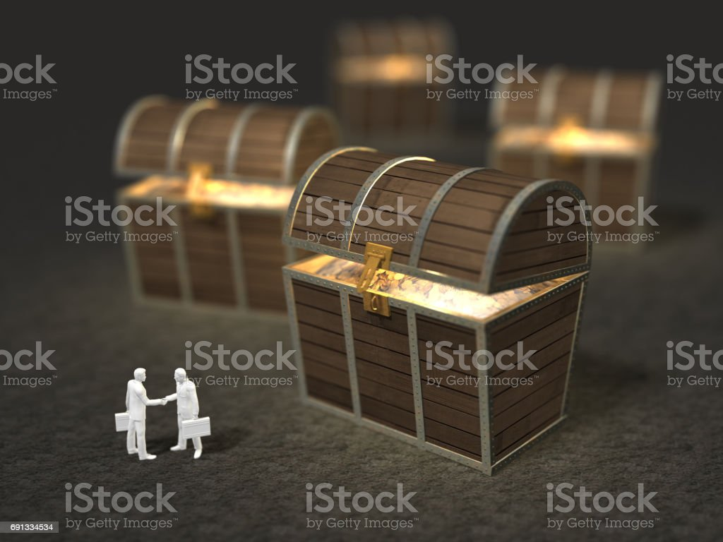 3D illustration of treasure discovery with figures arranged.