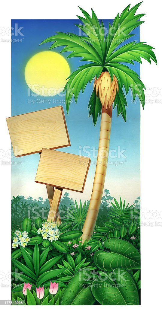 Illustration of tropical palm tree and wood plaque stock photo