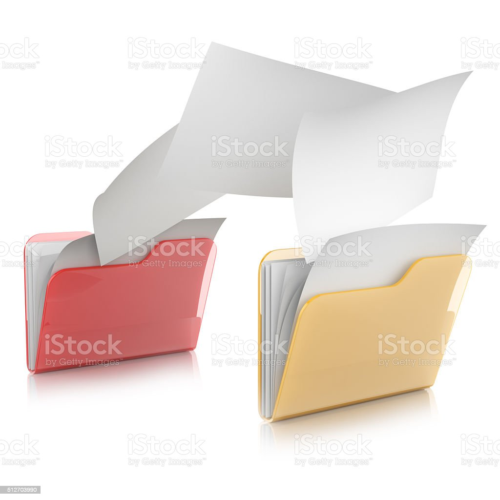 3D illustration of two  folders icons and files transfer stock photo