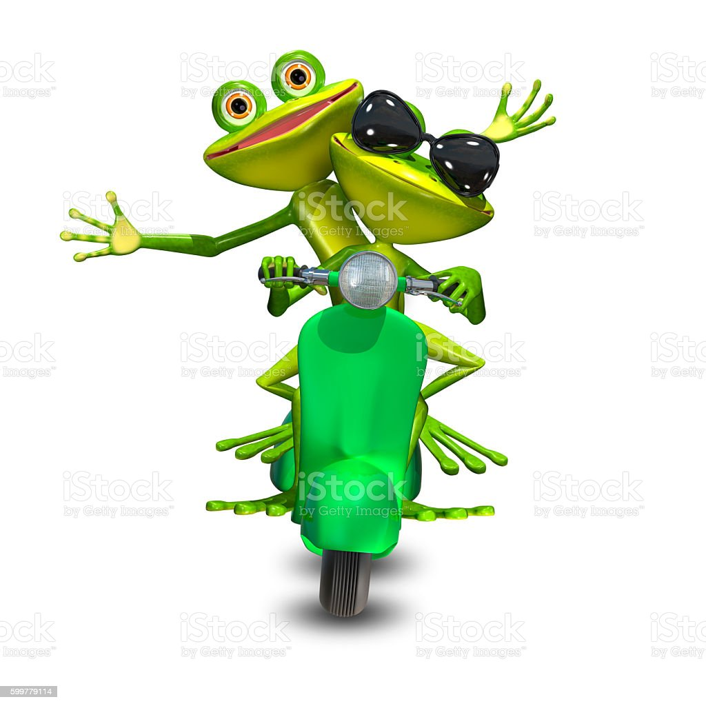 3D Illustration of two frogs on a motor scooter stock photo