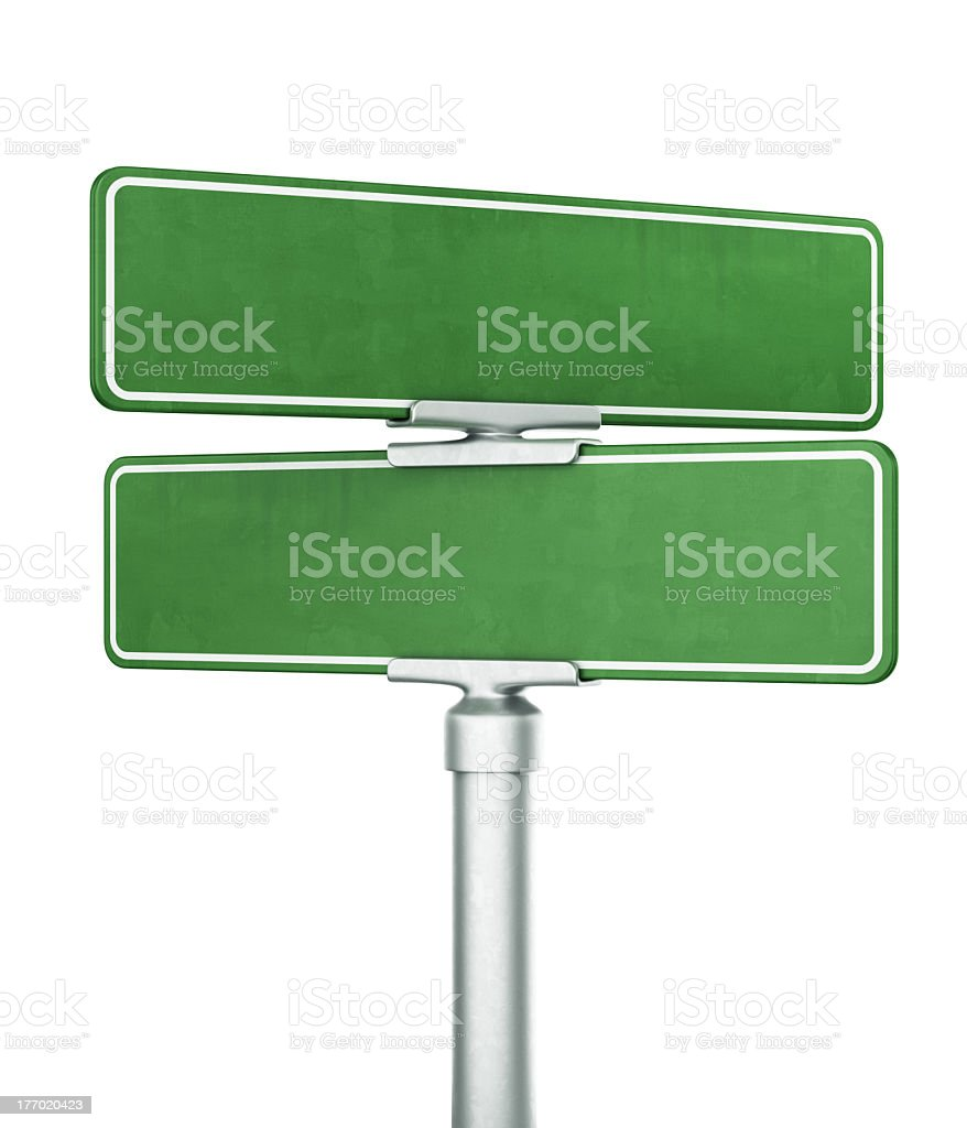 Illustration of two green blank street signs on one pole stock photo
