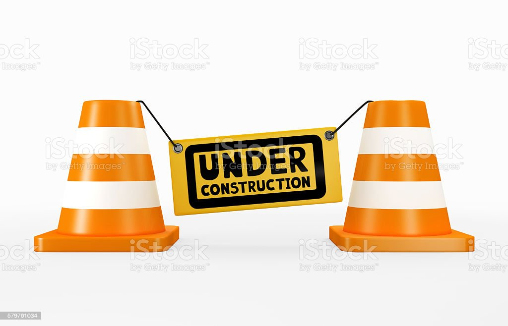 3D illustration of under construction concept. stock photo