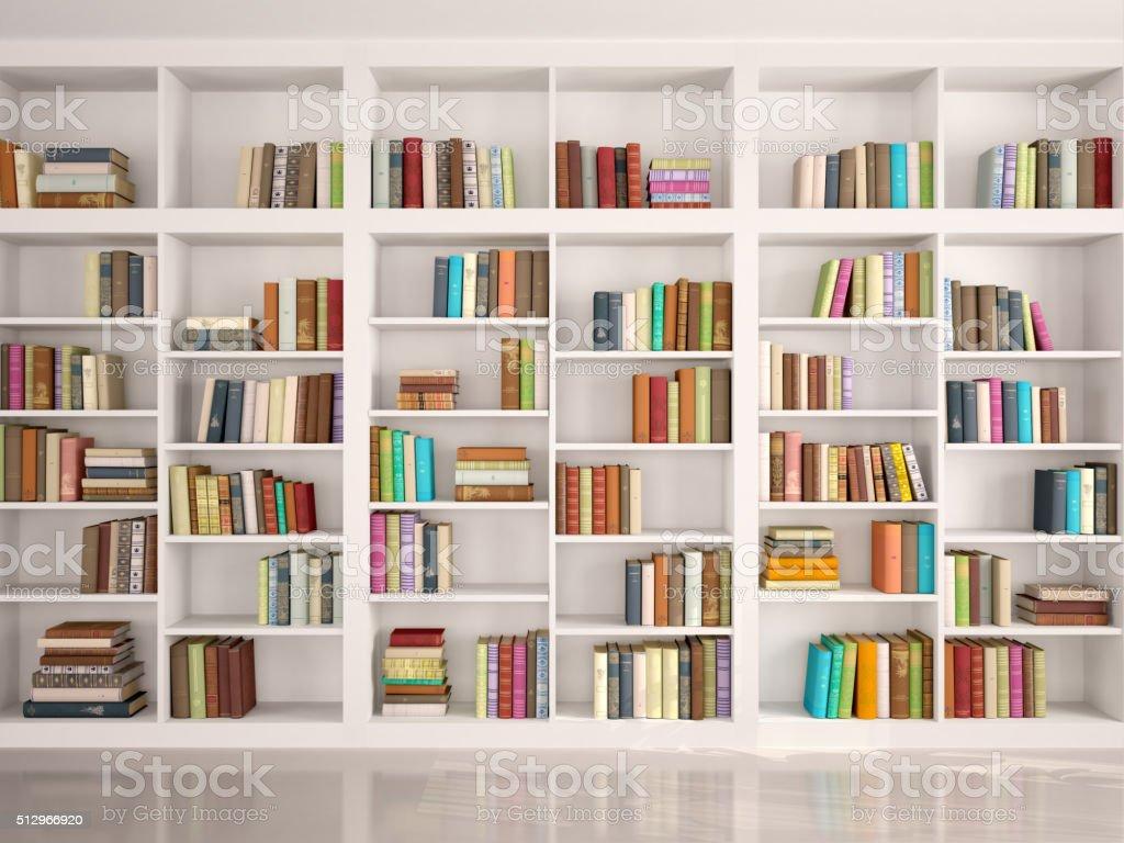 illustration of White bookshelves stock photo
