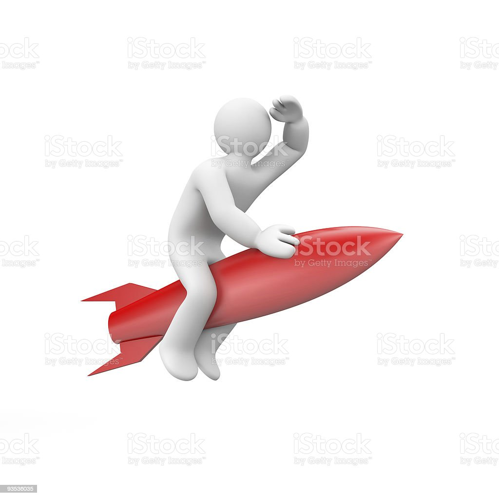 Illustration of white cartoon man on red rocket royalty-free stock photo