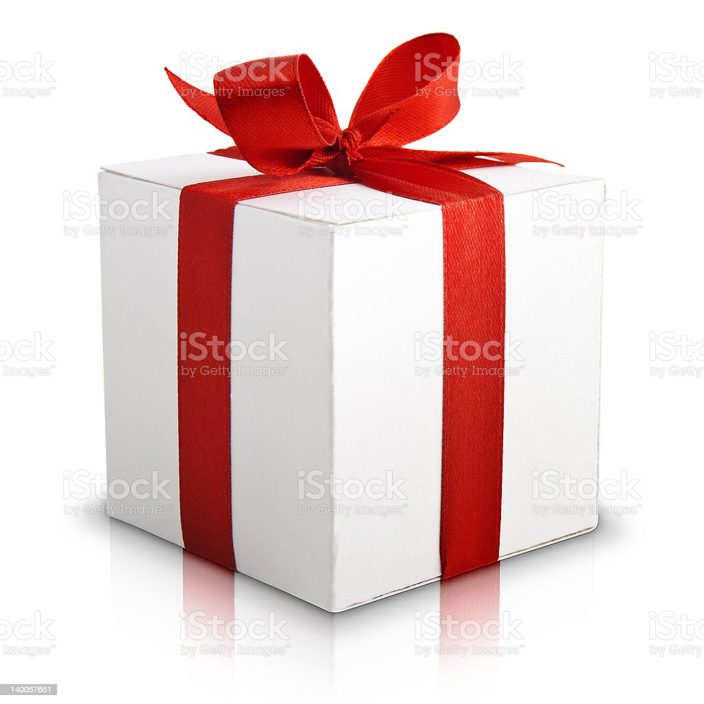 Illustration of white gift box with red bow royalty-free stock photo