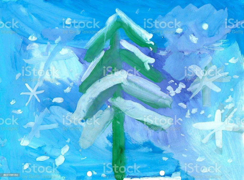 illustration of winter new year landscape stock photo