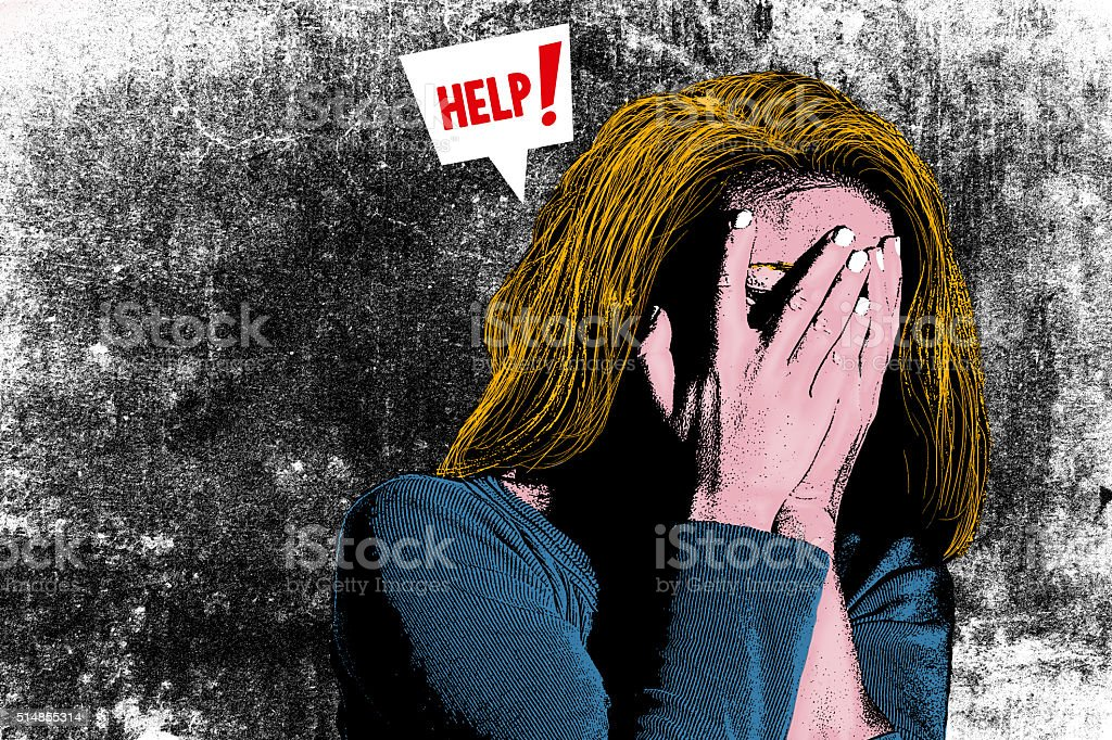 Illustration of woman with head in her hands stock photo