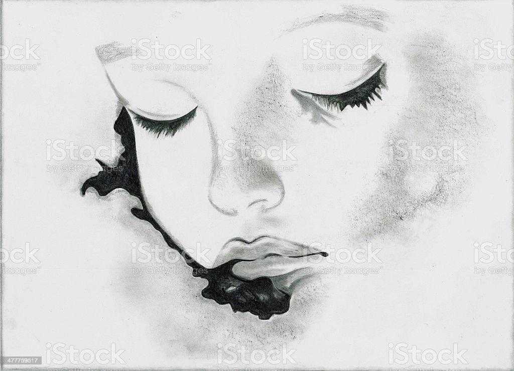 illustration painting girl stock photo