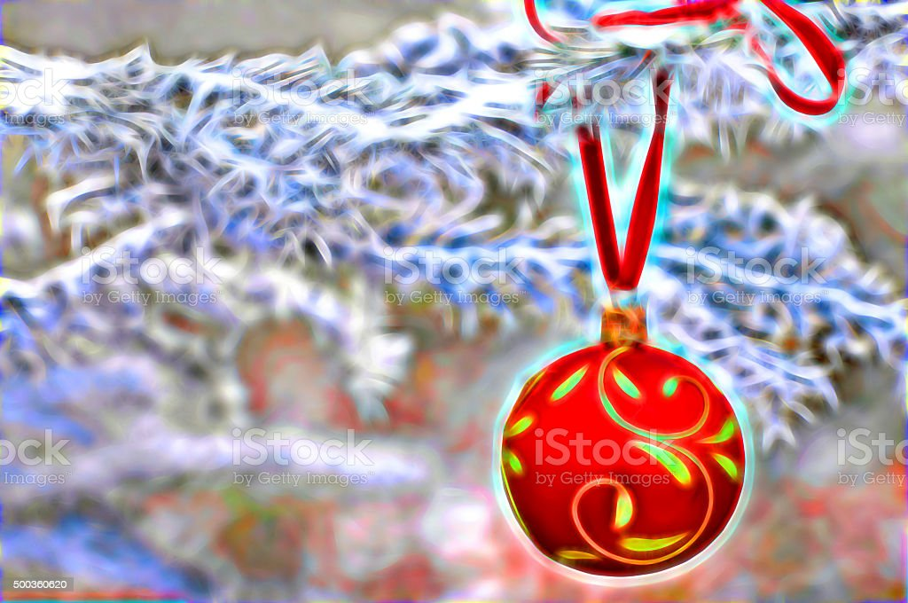 Illustration red Christmas bauble as a Christmas card stock photo
