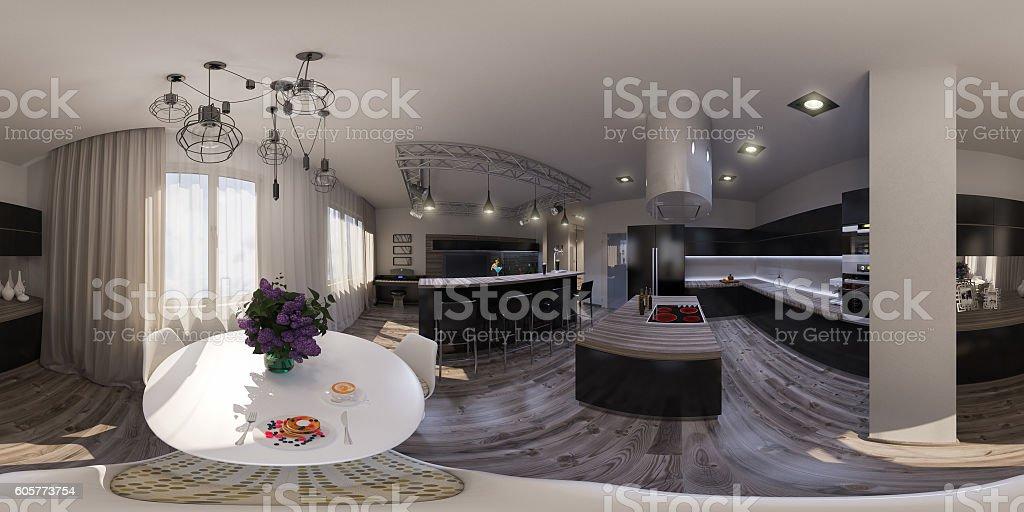 illustration seamless panorama of living room interior design stock photo