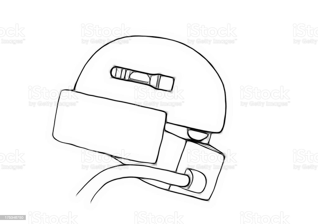 Illustration sketch of conceptual gas masked army helmet royalty-free stock photo