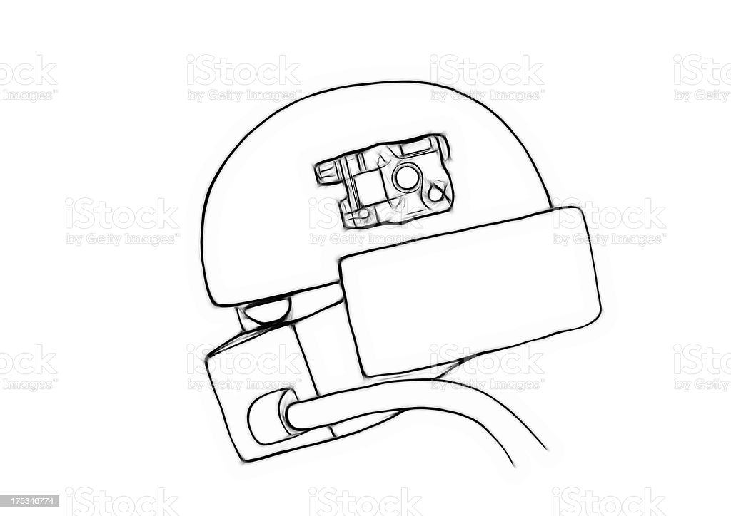 Illustration sketch of conceptual gas masked army helmet stock photo