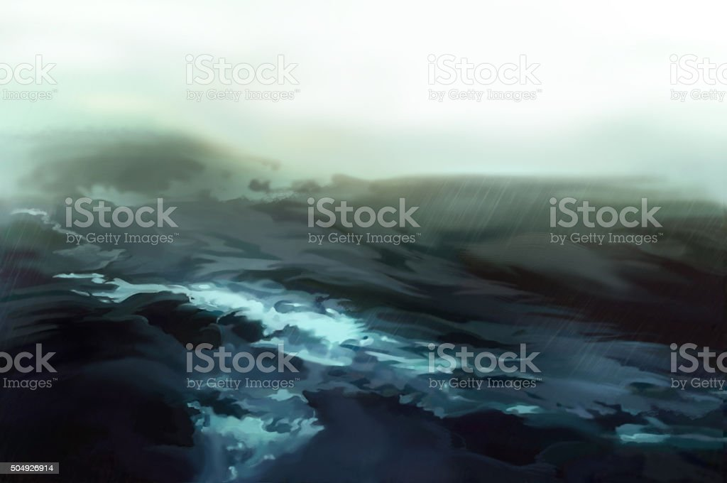Illustration: The Storm Sea. stock photo