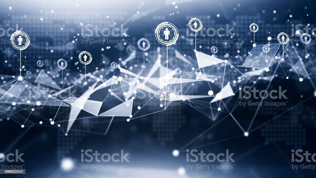 Illustration with connected people ,futuristic technology concept stock photo