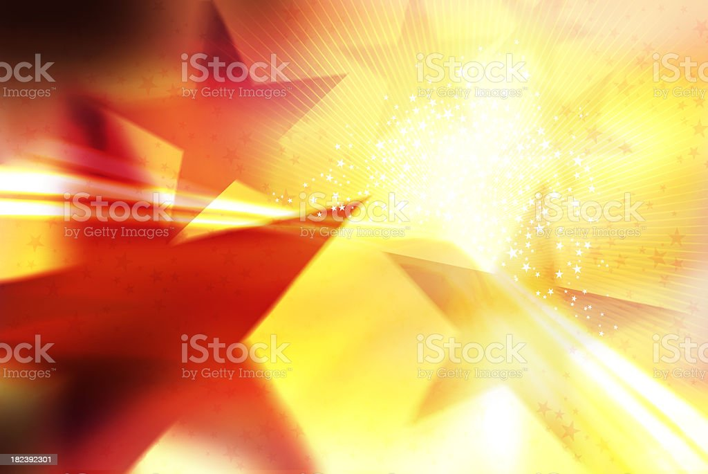 Illustration with star shapes and bright light stock photo