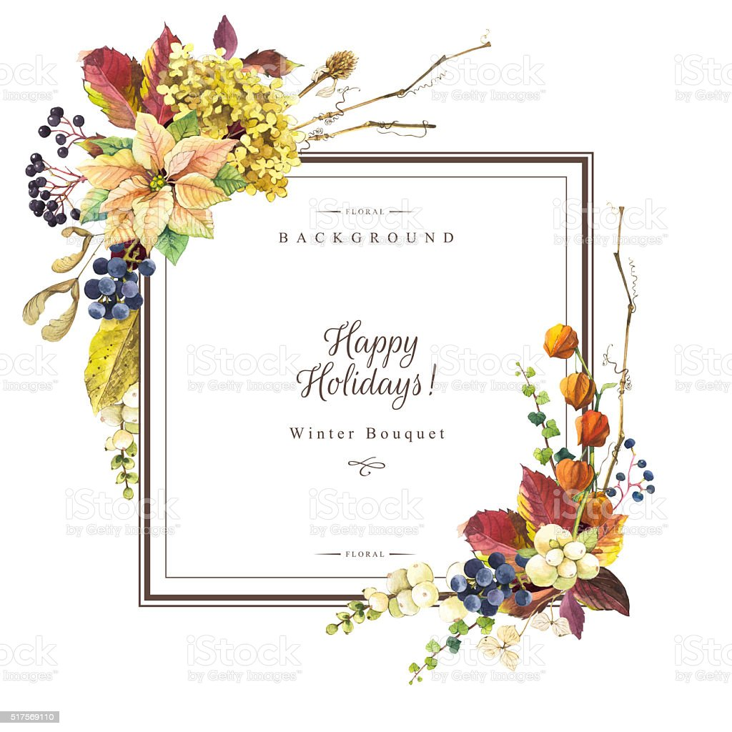 Illustration with watercolor flowers. Happy holidays. stock photo