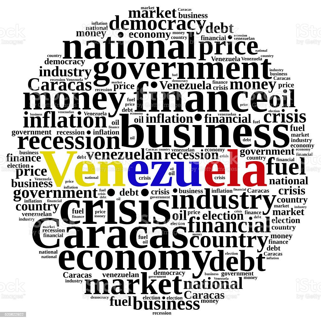 Illustration with word cloud on Venezuela. stock photo