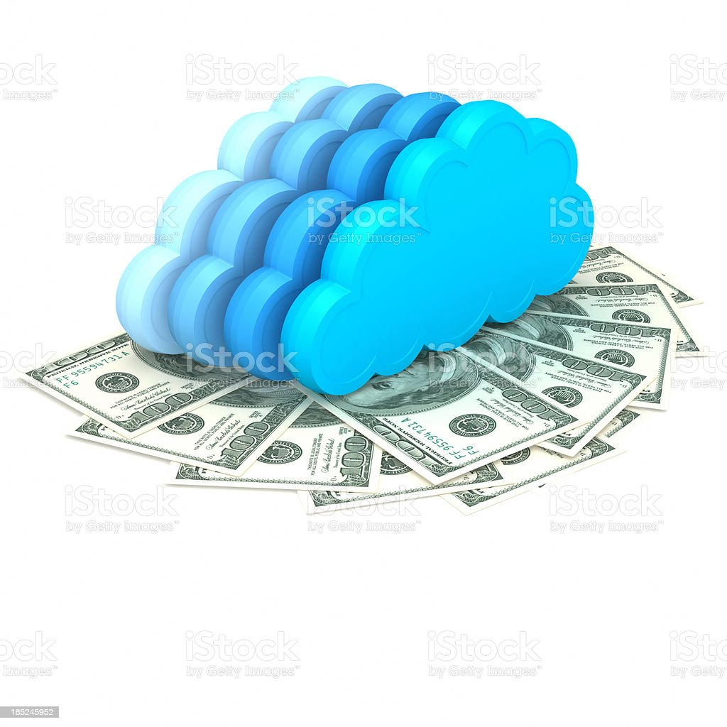 Illustrations of abstract clouds above dollars royalty-free stock photo
