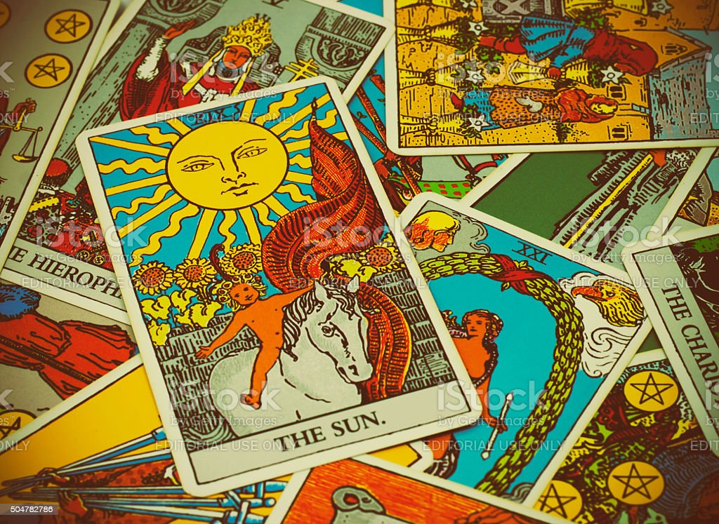 illustrative editorial Rider Waite tarot cards on the table stock photo