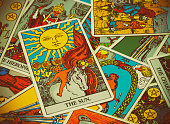 illustrative editorial Rider Waite tarot cards on the table