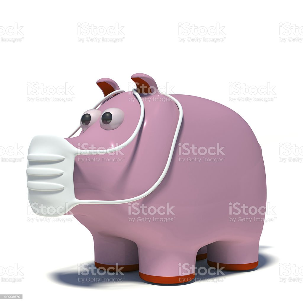 illustraton of a pig in an air mask royalty-free stock photo