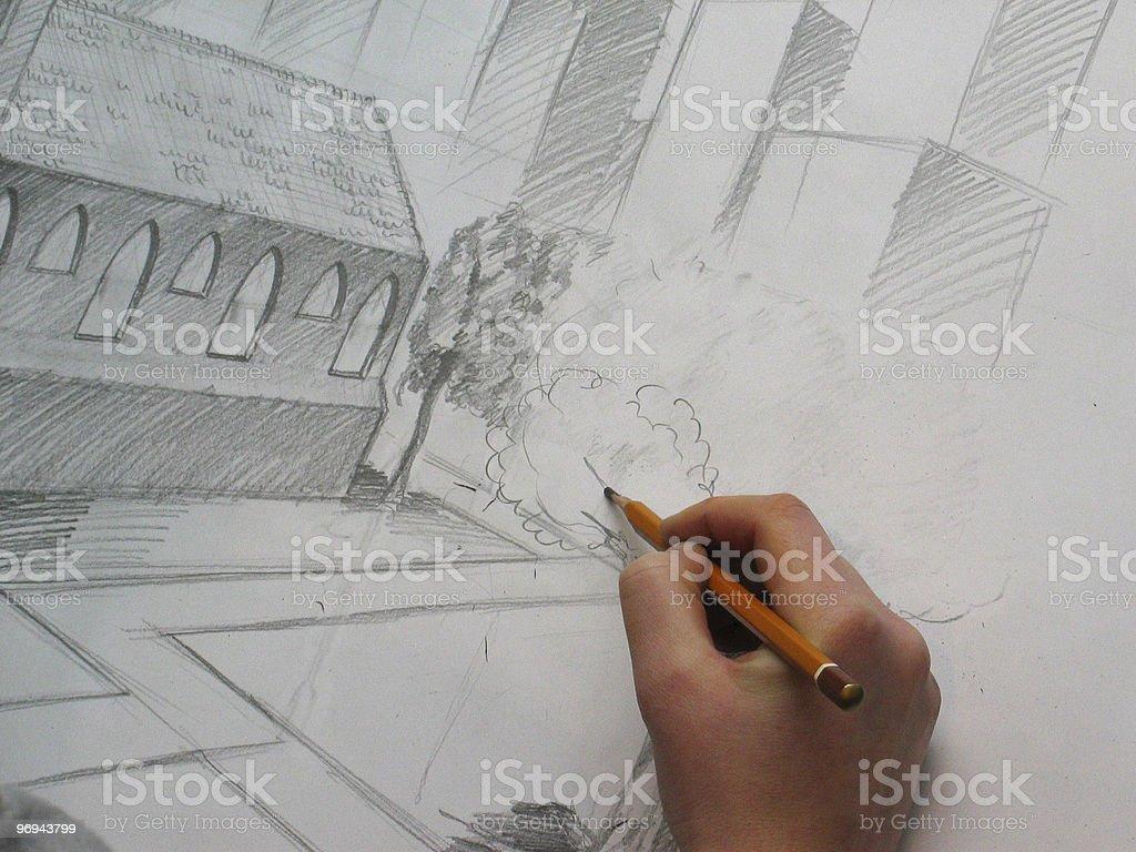 illustrator drawing a tree royalty-free stock photo