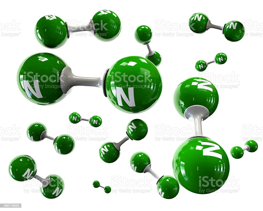 3D Illustrator molecule of Nitrogen on a white background stock photo