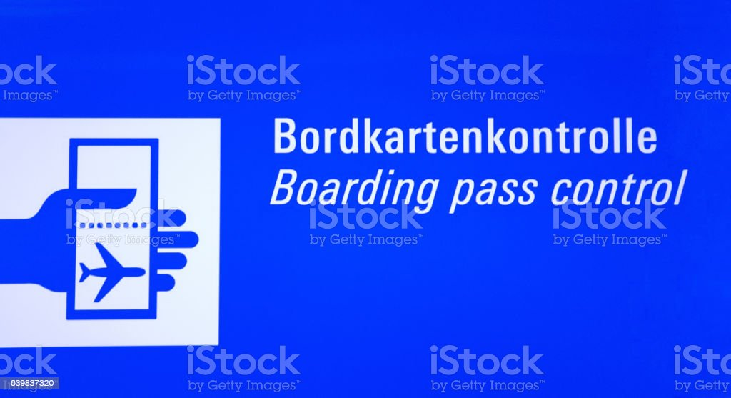 Iluminated Airport Sign Boarding Pass Control vector art illustration