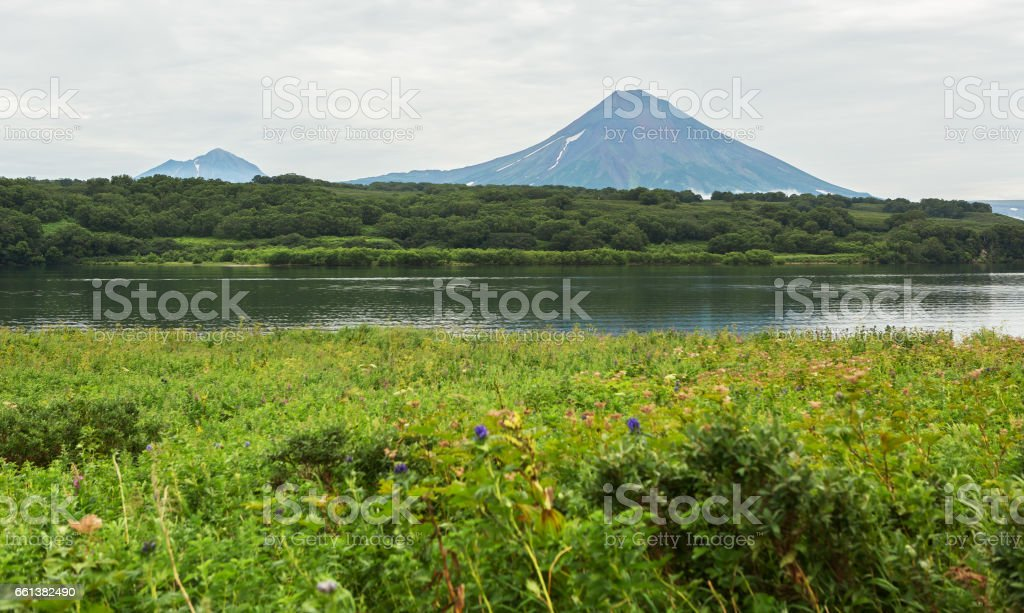 Ilyinsky stratovolcano near Kurile Lake stock photo