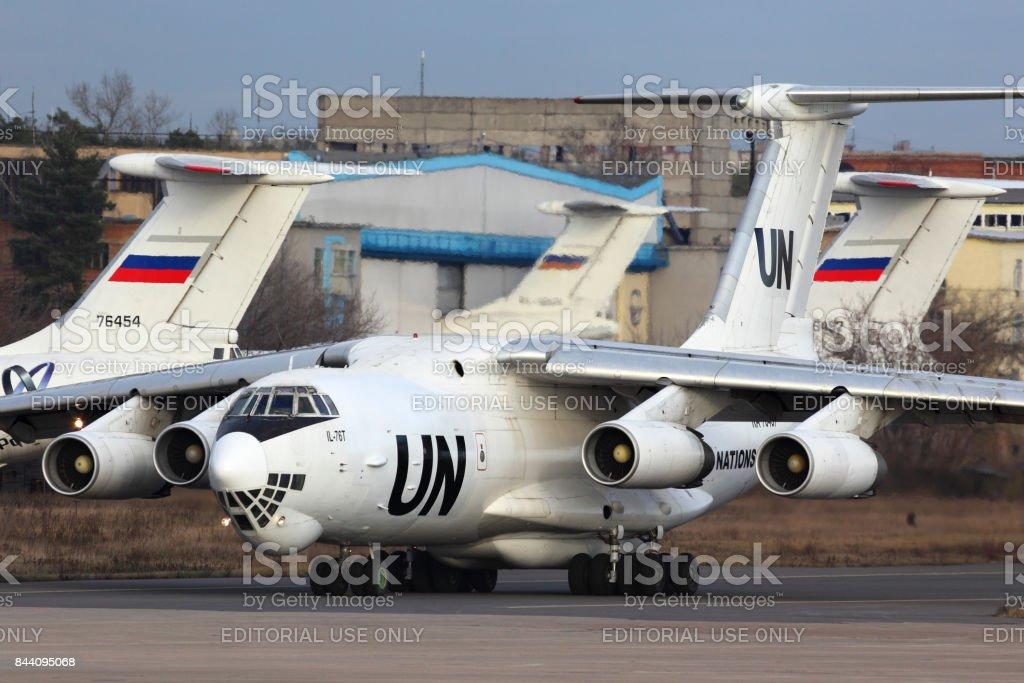 Ilyushin IL-76T of United Nations RA-76457 taxiing at Zhukovsky. stock photo