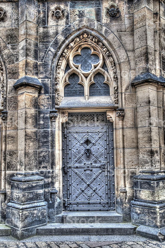 HDR Image ancient metal door and walls of church royalty-free stock photo