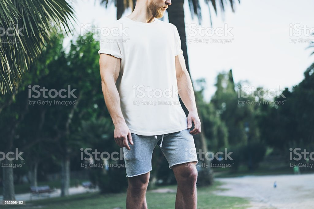 Image Bearded Muscular Man Wearing White Empty t-shirt and stock photo