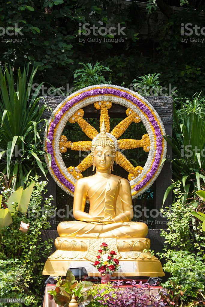 Изображение Будда посидеть у камина и колесо из Dhamma Стоковые фото Стоковая фотография