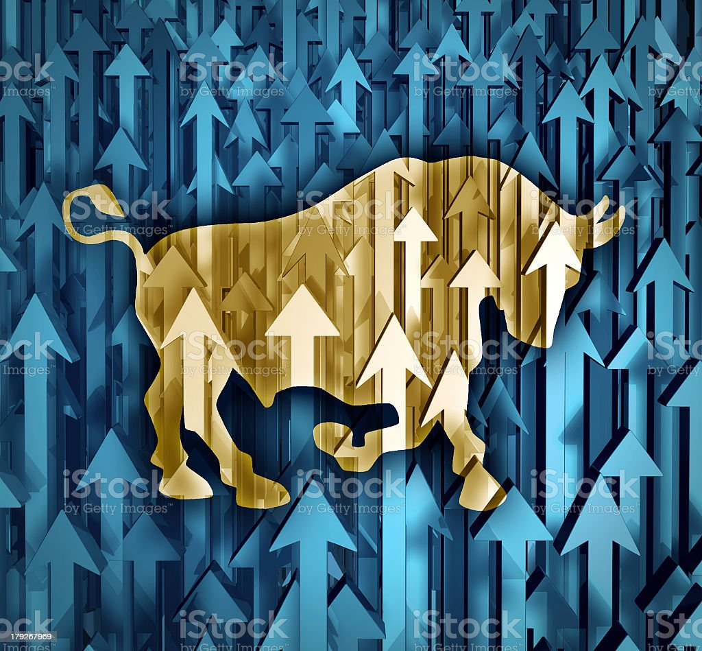 Image depicting the bull market on the rise  stock photo