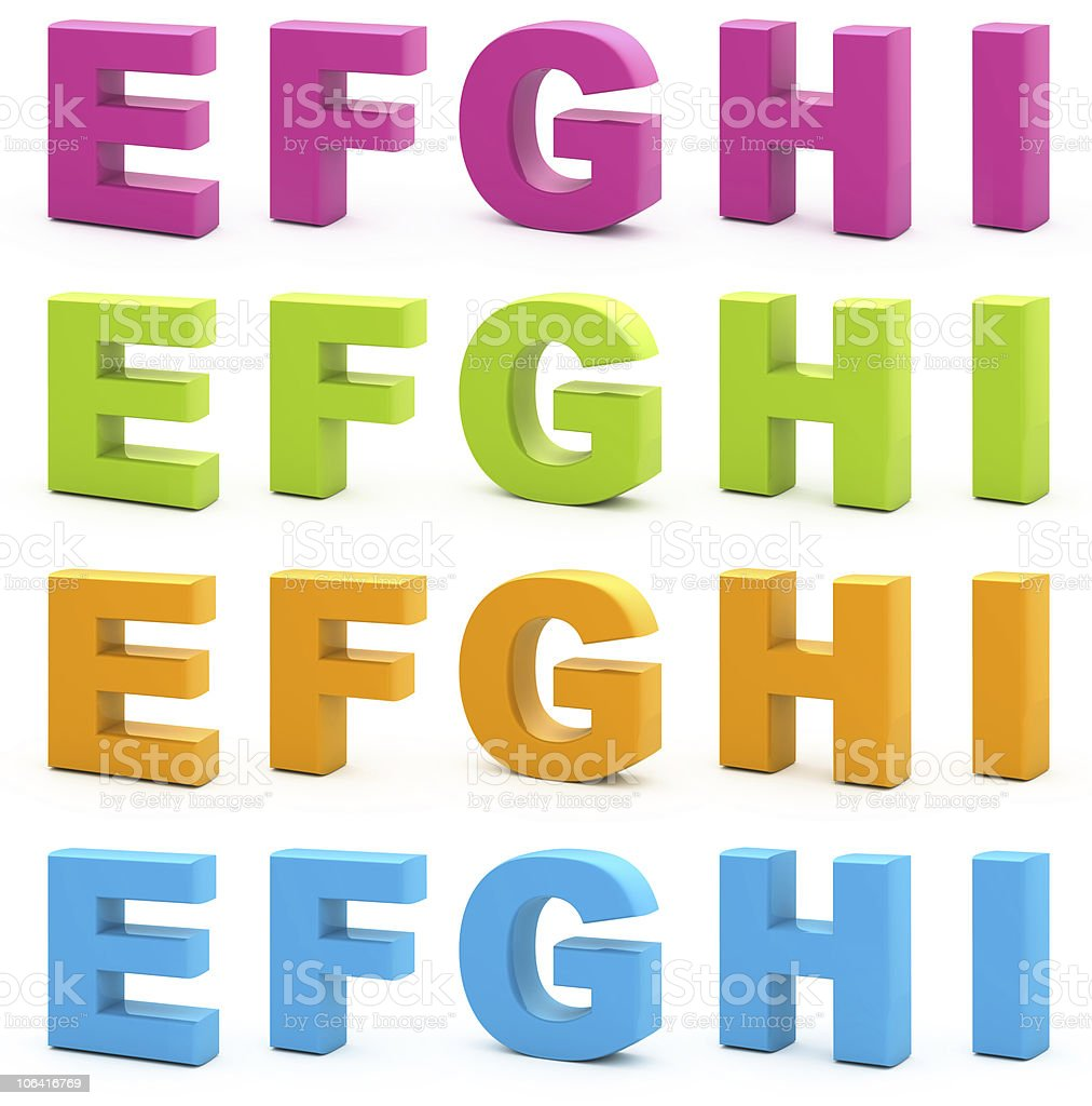 Image of 3D alphabet letters in different colors royalty-free stock photo