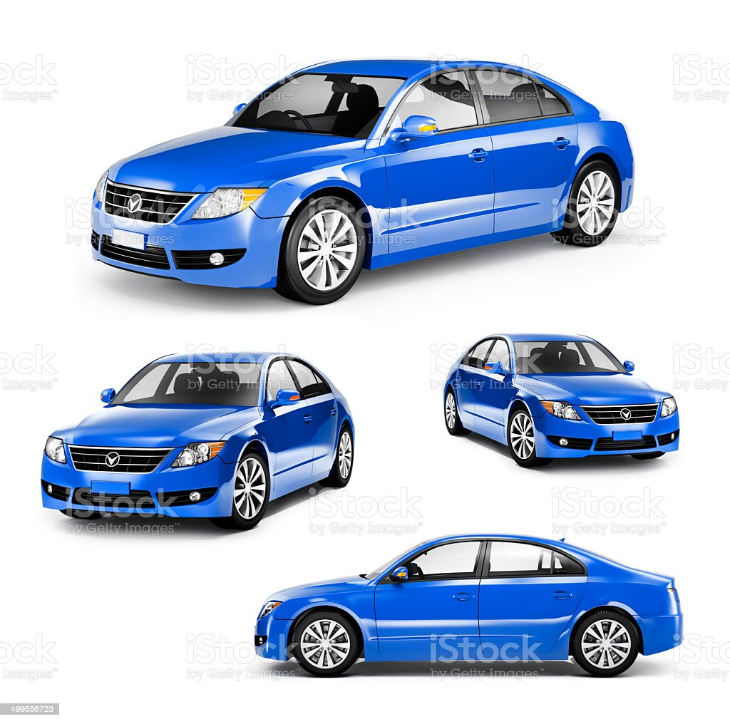 Image of a Blue Car on Different Positions royalty-free stock photo