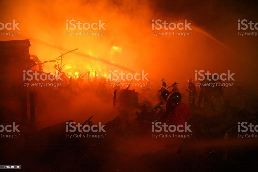 Image of a burned abandoned house in slum, thailand stock photo