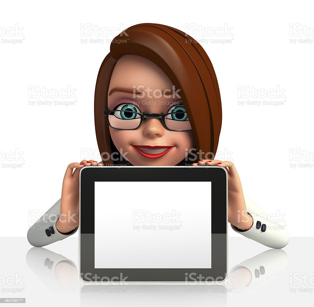 3D image of a cartoon woman holding up a tablet stock photo
