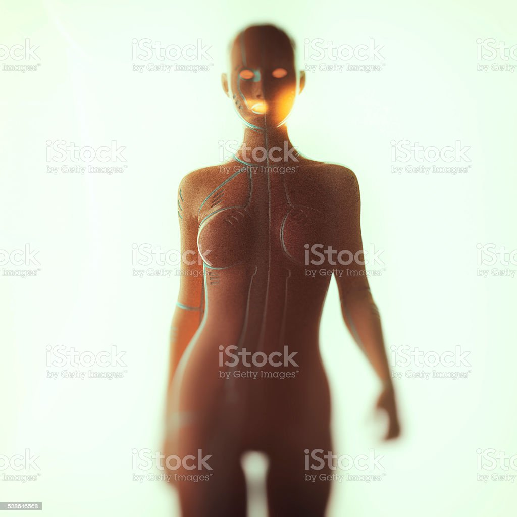 3D image of a cyborg stock photo