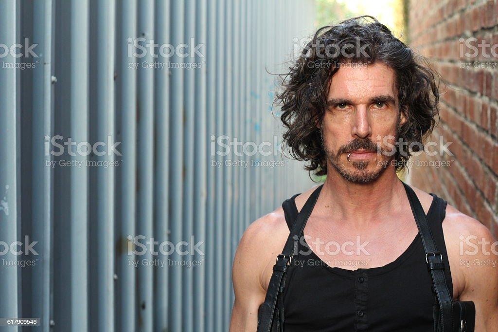 Image of a depressed evil man stock photo