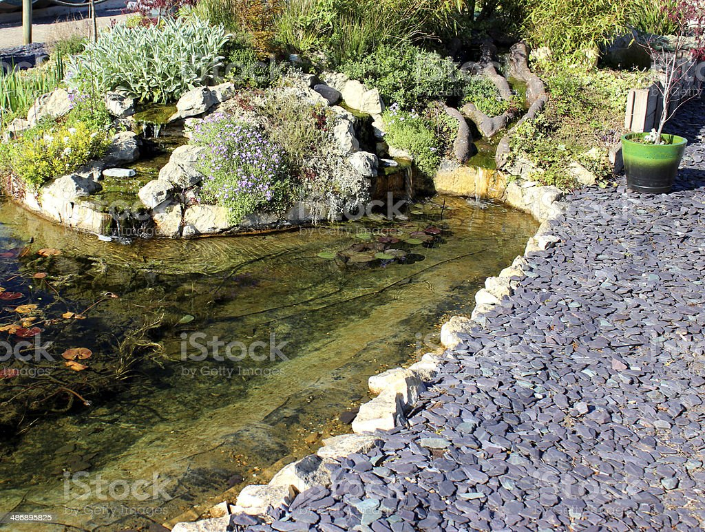 Image of a garden fish pond with waterfalls and rockery stock photo