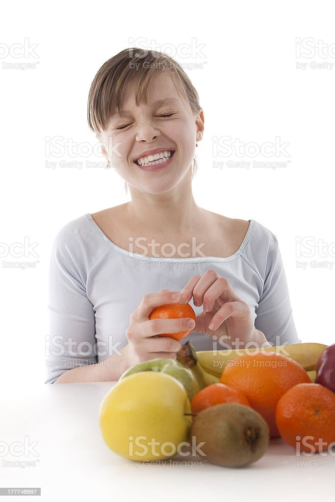 Image of a girl with fruit royalty-free stock photo