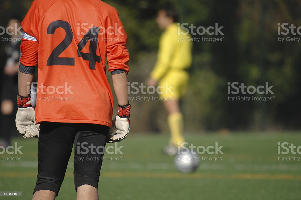 Image of a goalkeeper whatching the game royalty-free stock photo