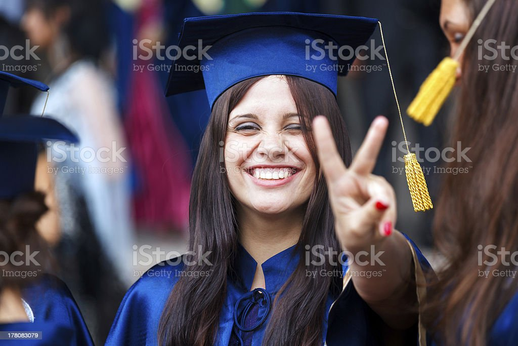 Image of a happy young graduate stock photo