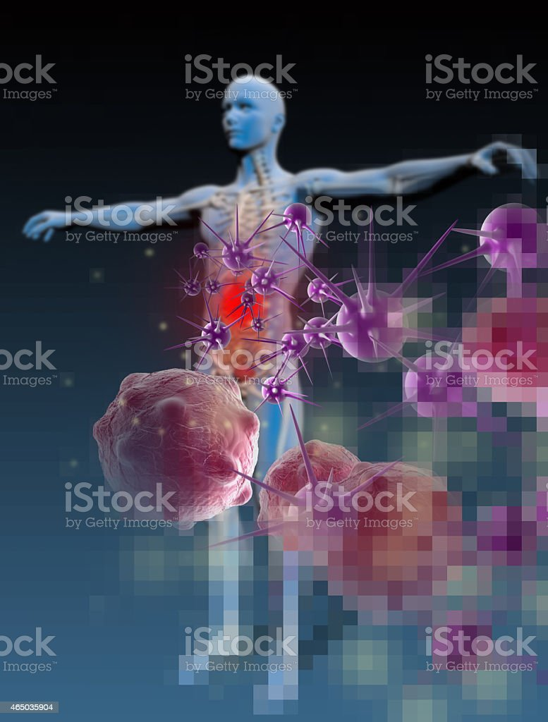 3D image of a human body fighting against disease stock photo
