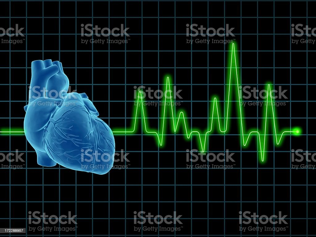 Image of a human heart with an Electrocardiogram in the back stock photo