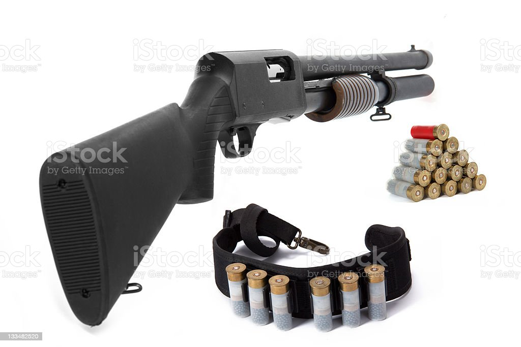 Image of a hunting rifle and ammunition (isolated) stock photo
