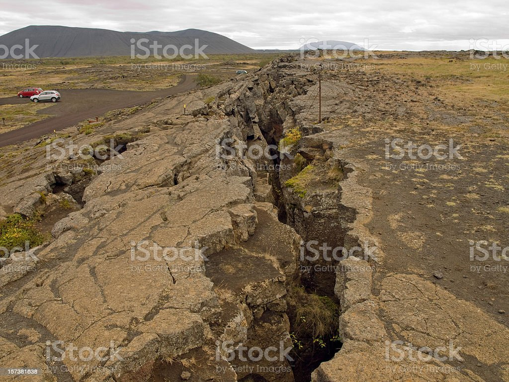 Image of a large fissure in the earth stock photo