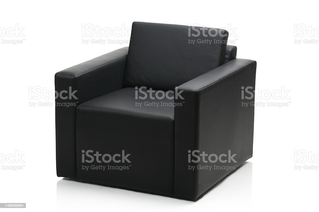 Image of a modern black leather armchair royalty-free stock photo